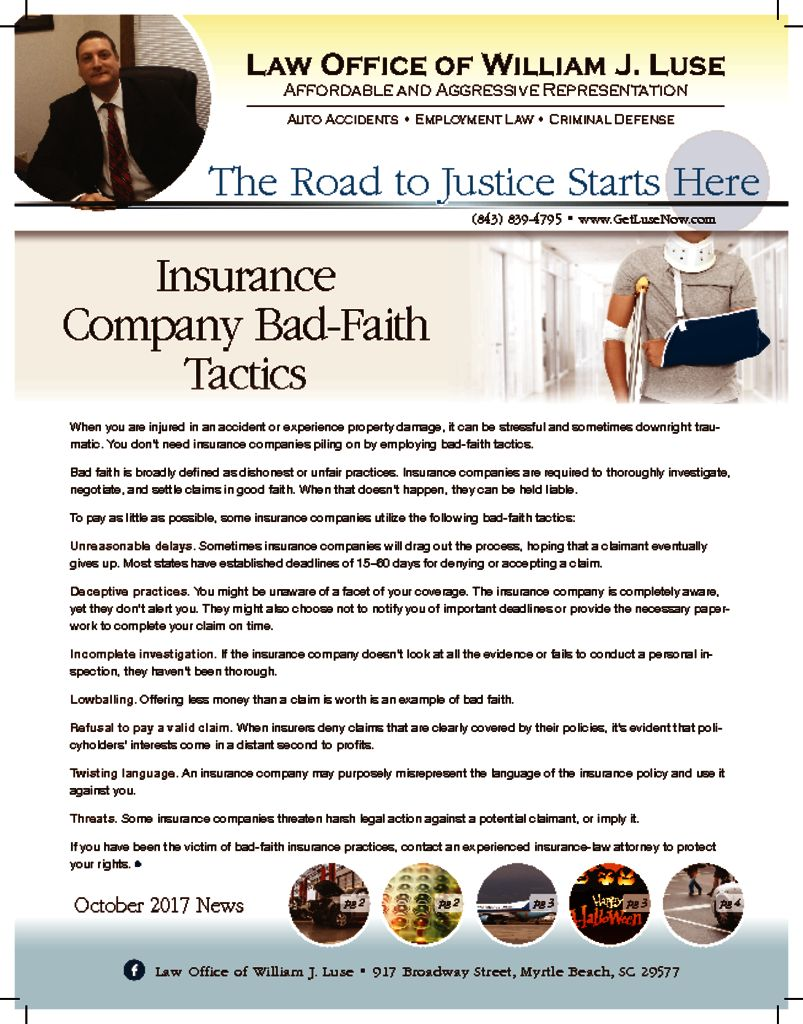 October 2017 Newslette   Law Office of William J  Luse